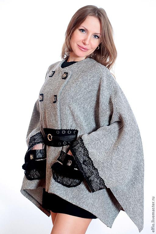 Пиджаки, жакеты ручной работы. Ярмарка Мастеров - ручная работа. Купить Жакет- пончо из твида без подкладки с кружевом. Handmade.