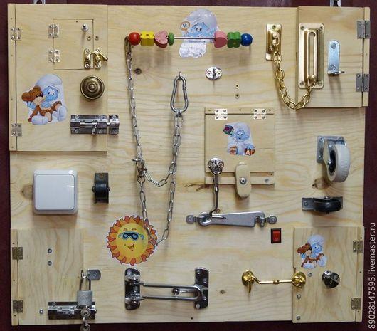 Развивающие игрушки ручной работы. Ярмарка Мастеров - ручная работа. Купить БИЗИБОРД РАЗВИВАЮЩАЯ ДОСКА. Handmade. Развивающая игрушка, доска