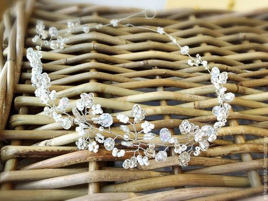 Свадебные украшения ручной работы. Ярмарка Мастеров - ручная работа. Купить Свадебный венок диадема на голову Снежный (на заказ). Handmade.