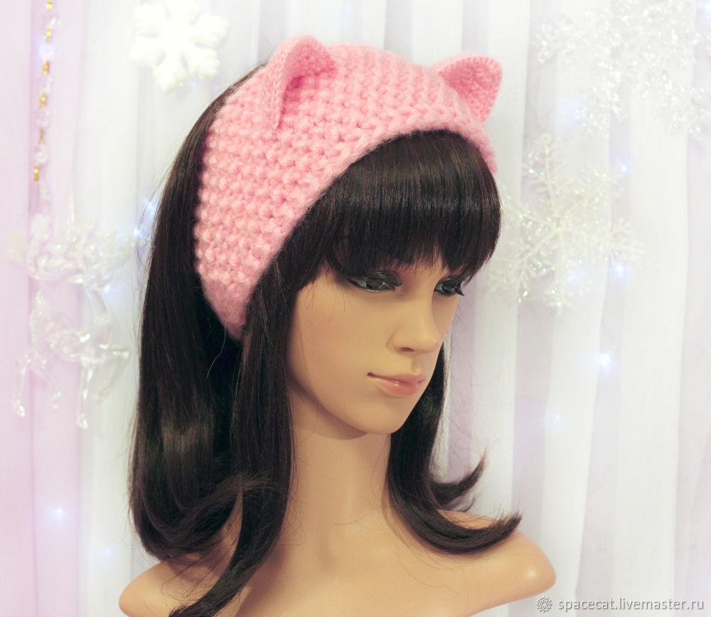headband with cat ears knitted hair pink shop online on