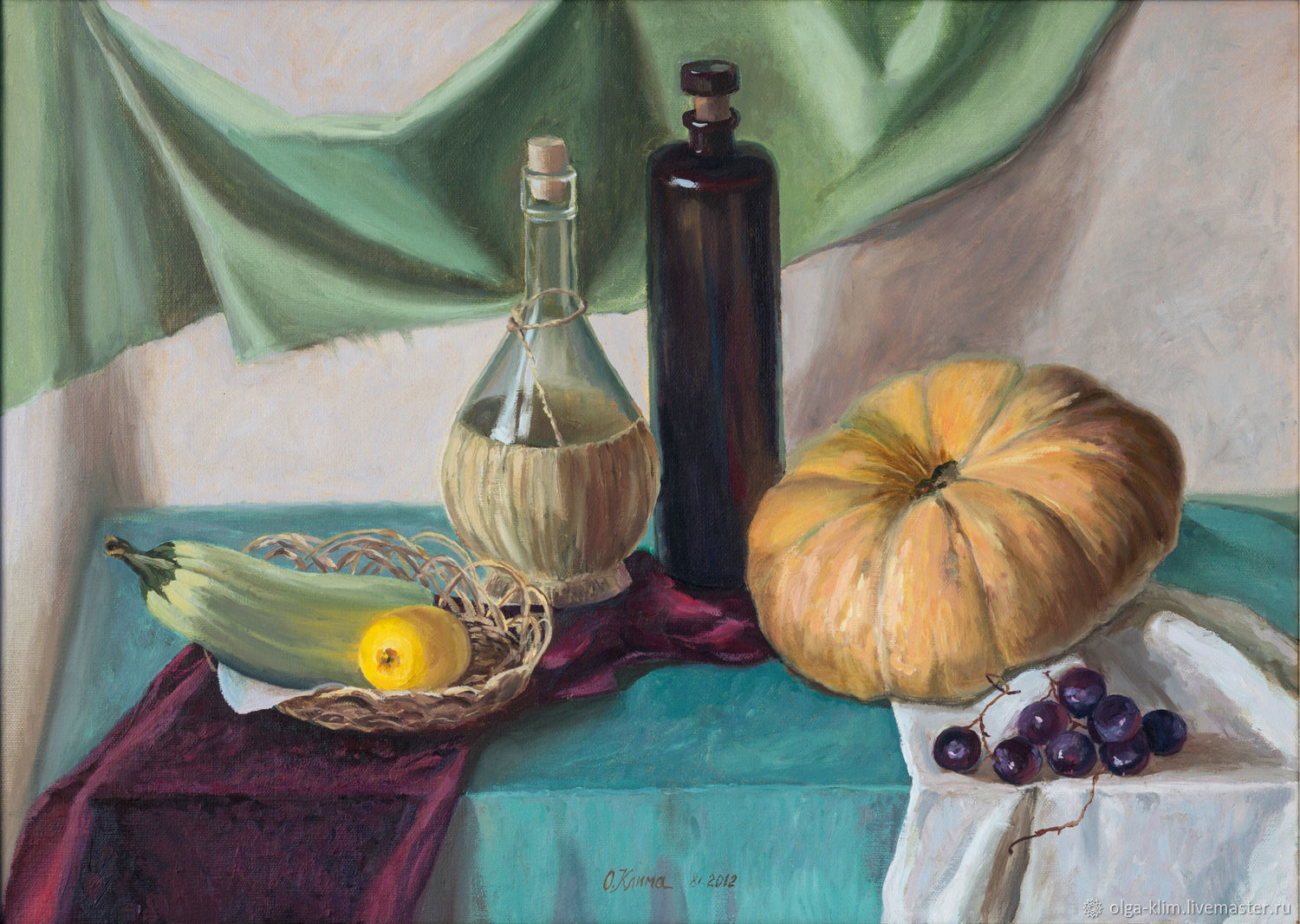 Oil painting with a ripe pumpkin Still life with objects vegetables and fruit, Pictures, Ekaterinburg,  Фото №1
