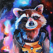 Картины и панно handmade. Livemaster - original item Custom painting with a raccoon 50/50 cm.. Handmade.