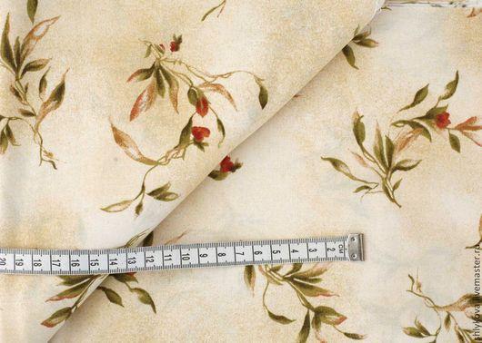 Шитье ручной работы. Ярмарка Мастеров - ручная работа. Купить Ткань для пэчворка. Handmade. Бежевый, ткань, ткани, ткань с цветами