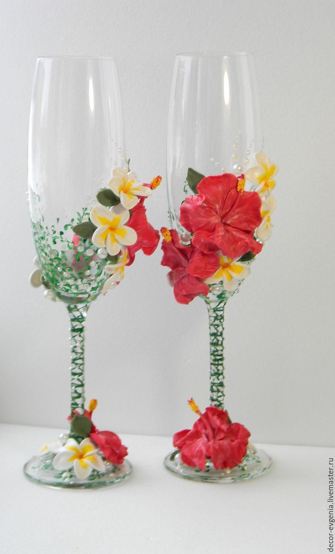 Wedding Glasses, Hawaii Wedding, Wedding toasting flutes – shop ...