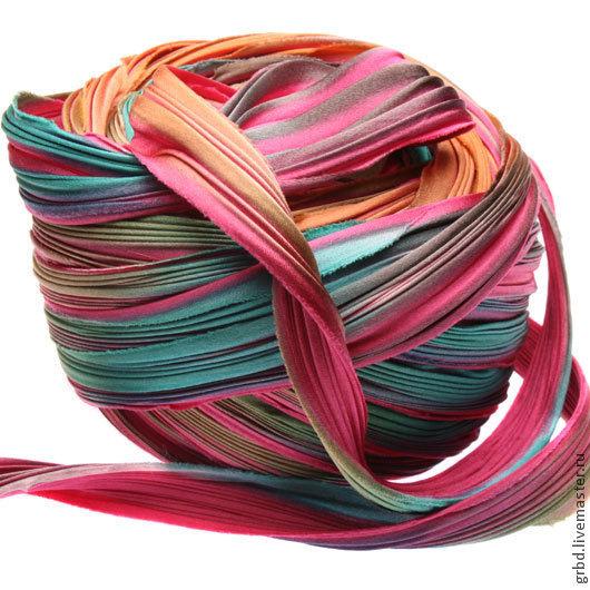 Для украшений ручной работы. Ярмарка Мастеров - ручная работа. Купить Шелковая лента Шибори (Shibori) цвет Feathers. Handmade.
