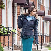Одежда ручной работы. Ярмарка Мастеров - ручная работа V_007 Жакет приталенный с баской, с зелеными оборками. Handmade.