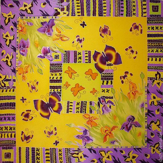 Шёлковый Платок батик На заказ может быть выполнен в разных размерах. Цена батик платка зависит от выбранного размера. Платок батик шёлковый выполнен в технике холодный батик.