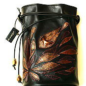 Сумки и аксессуары handmade. Livemaster - original item Black leather bag Modern Evening shoulder handmade bag. Handmade.
