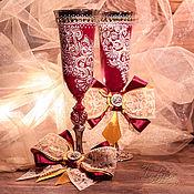 """Свадебный салон ручной работы. Ярмарка Мастеров - ручная работа Бокалы свадебные - """"бордо"""". Handmade."""