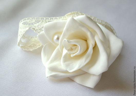 Браслеты ручной работы. Ярмарка Мастеров - ручная работа. Купить Белая роза с жемчужиной на ажурной ленте. Handmade. Белый, браслет