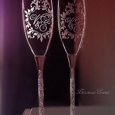 Свадебный салон ручной работы. Ярмарка Мастеров - ручная работа Бокалы:Именные бокалы для молодоженов. Handmade.