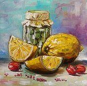 Картины и панно ручной работы. Ярмарка Мастеров - ручная работа Картина маслом Лимоны и оливки. Handmade.