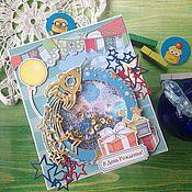 """Открытки ручной работы. Ярмарка Мастеров - ручная работа Детская открытка """"Полет в космос"""". Handmade."""