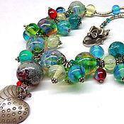 Украшения handmade. Livemaster - original item Necklace Emerald lampwork set. Handmade.