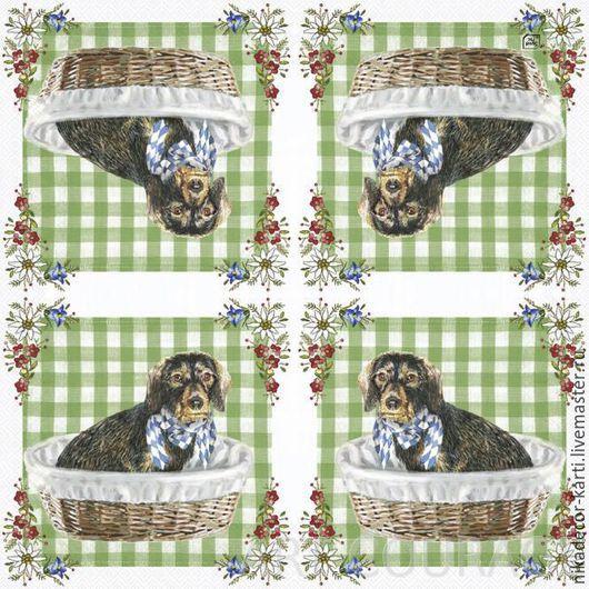 Декупаж и роспись ручной работы. Ярмарка Мастеров - ручная работа. Купить Собака Валди (LU1071120) - салфетка для декупажа. Handmade. Разноцветный