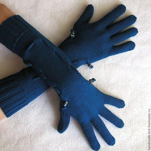 Варежки, митенки, перчатки ручной работы. Ярмарка Мастеров - ручная работа. Купить Перчатки морская волна. Handmade. Перчатки