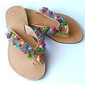 Обувь ручной работы. Ярмарка Мастеров - ручная работа Кожаные сандалии «Цветное драже». Handmade.