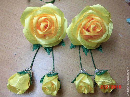 Заколки ручной работы. Ярмарка Мастеров - ручная работа. Купить розы из атласной ленты. Handmade. Резиночки для волос, украшения на голову