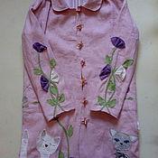 """Одежда ручной работы. Ярмарка Мастеров - ручная работа Плащ изо льна """" Коты и цветы"""". Handmade."""