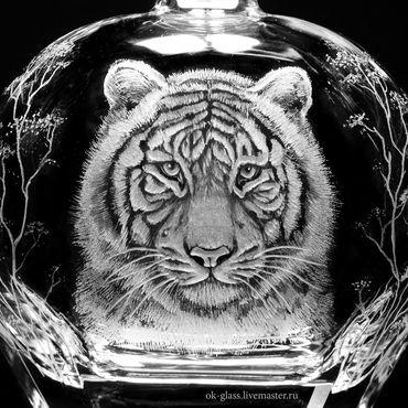 """Посуда ручной работы. Ярмарка Мастеров - ручная работа Штоф с рюмками """"Тигр """". Handmade."""