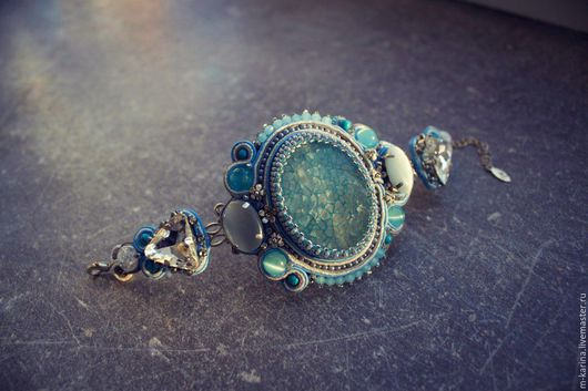 """Браслеты ручной работы. Ярмарка Мастеров - ручная работа. Купить браслет """"Голубая кровь"""". Handmade. Голубой, вены дракона"""