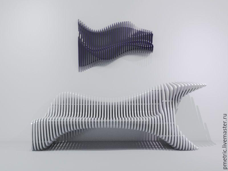 Мебель ручной работы. Ярмарка Мастеров - ручная работа. Купить parametric bench. Handmade. Белый, параметрическая скамья