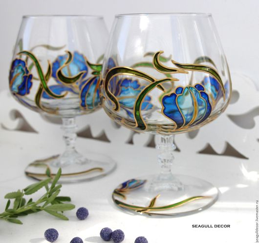 Бокалы, стаканы ручной работы. Ярмарка Мастеров - ручная работа. Купить Фужеры для коньяка Ирисы. Роспись по стеклу. Handmade.
