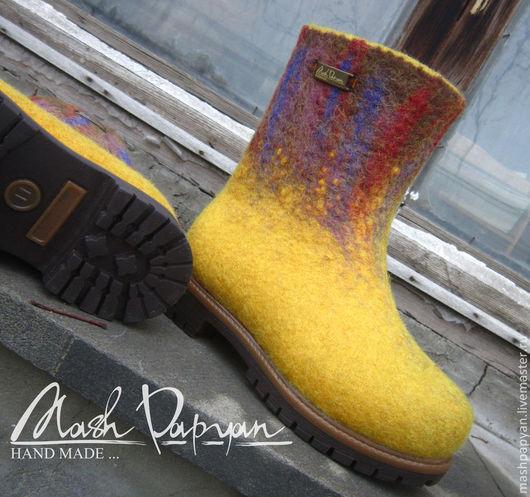 """Обувь ручной работы. Ярмарка Мастеров - ручная работа. Купить Валяные детские ботинки """"Солей """". Handmade. Желтый"""