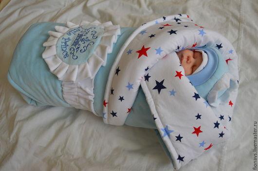Для новорожденных, ручной работы. Ярмарка Мастеров - ручная работа. Купить Комплект на выписку Маленький принц. Handmade. Голубой, кулирка