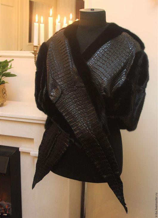 Верхняя одежда ручной работы. Ярмарка Мастеров - ручная работа. Купить Накидка из норки и кожи крокодила. Handmade. Черный