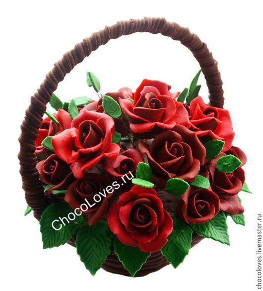 Персональные подарки ручной работы. Ярмарка Мастеров - ручная работа. Купить Шоколадная корзина с цветами (красные розы). Handmade. Шоколад
