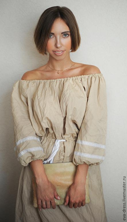 Платья ручной работы. Ярмарка Мастеров - ручная работа. Купить Платье длинное лен, стильное льняное платье «Беж». Handmade.