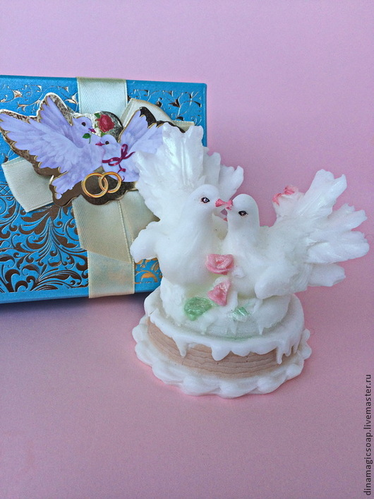 """Мыло ручной работы. Ярмарка Мастеров - ручная работа. Купить свадебное мыло """" Голуби на торте"""". Handmade. Белый"""