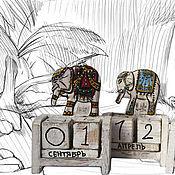 """Канцелярские товары ручной работы. Ярмарка Мастеров - ручная работа Вечный календарь """"Слоник"""". Handmade."""