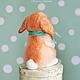 Рыжий вислоухий кролик, коллекционная валяная  игрушка , единственный экземпляр. Авторские глазки ручной работы