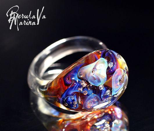 Rings handmade. Livemaster - handmade. Buy ring 'garden amitis'.Marina berulava, ring lampwork, glass