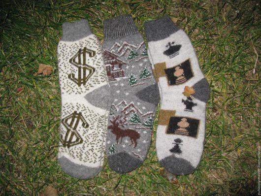 Носки, Чулки ручной работы. Ярмарка Мастеров - ручная работа. Купить Мужские носки из смеси шерсти и пуха. Handmade. Серый