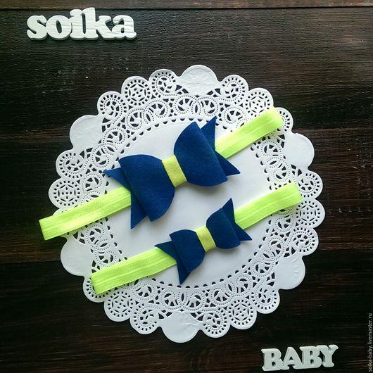 Повязки ручной работы. Ярмарка Мастеров - ручная работа. Купить Family look Бантики mini - повязочки из фетра для дочки и мамы. Handmade.