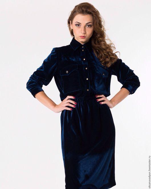 Платья ручной работы. Ярмарка Мастеров - ручная работа. Купить Платье бархатное. Handmade. Тёмно-синий, дизайнерская одежда
