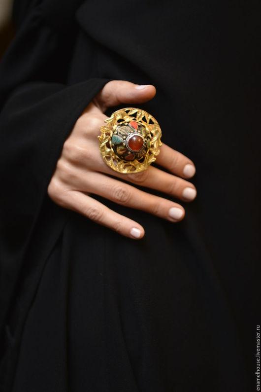 Кольца ручной работы. Ярмарка Мастеров - ручная работа. Купить Кольцо из сердолика, коралла и бирюзы. Handmade. Комбинированный, сиреневый