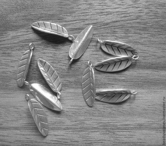 Для украшений ручной работы. Ярмарка Мастеров - ручная работа. Купить Подвеска лист (серебро)- КВ461. Handmade. Серебряный, серебро