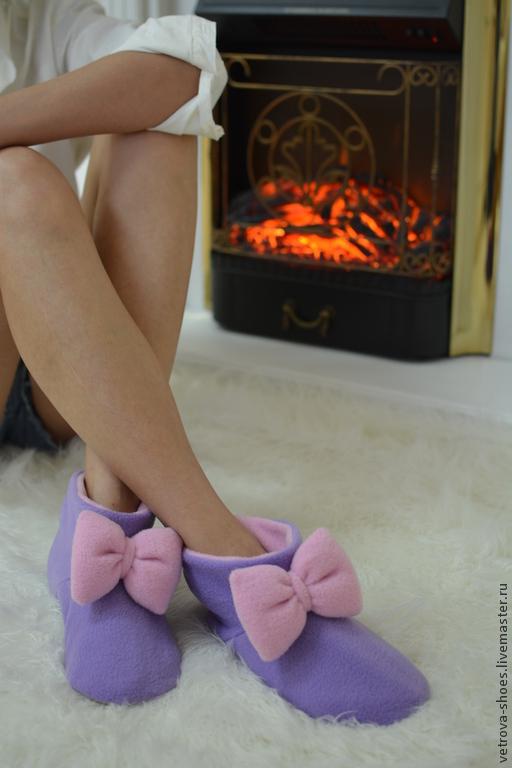 """Обувь ручной работы. Ярмарка Мастеров - ручная работа. Купить Домашние сапожки """"Вечер в Провансе"""". Handmade. Сиреневый, розовый"""