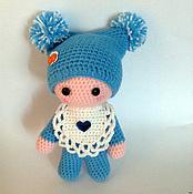 Куклы и игрушки ручной работы. Ярмарка Мастеров - ручная работа пупс вязаный в голубом. Handmade.
