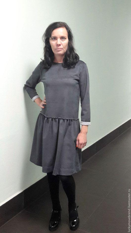 Платья ручной работы. Ярмарка Мастеров - ручная работа. Купить Платье из замши.. Handmade. Темно-серый, платье, платье из замши