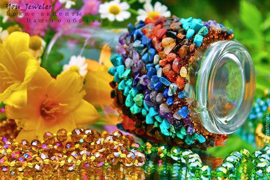 Браслеты ручной работы. Ярмарка Мастеров - ручная работа. Купить Широкий браслет из натуральных камней Венера (специи). Handmade. Оранжевый