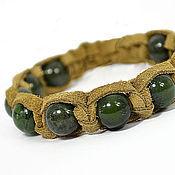 Украшения handmade. Livemaster - original item Bracelet Shambhala made of suede with jade. Handmade.