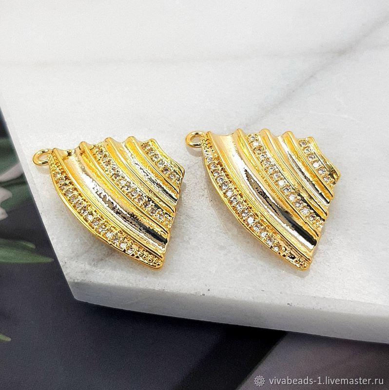 Pendant with zircons 22x13 mm gold plated (4752), Pendants, Voronezh,  Фото №1