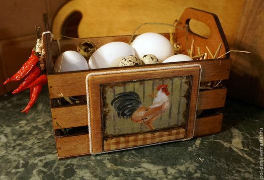 """Кухня ручной работы. Ярмарка Мастеров - ручная работа. Купить Ящик для яиц """"Петушки"""". Handmade. Коричневый, кухонный интерьер, петушки"""