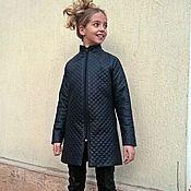 Одежда handmade. Livemaster - original item Quilted leather coat for girls. Handmade.
