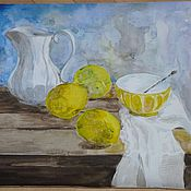 """Картины и панно ручной работы. Ярмарка Мастеров - ручная работа Натюрморт акварелью """"Желтые лимоны"""". Handmade."""